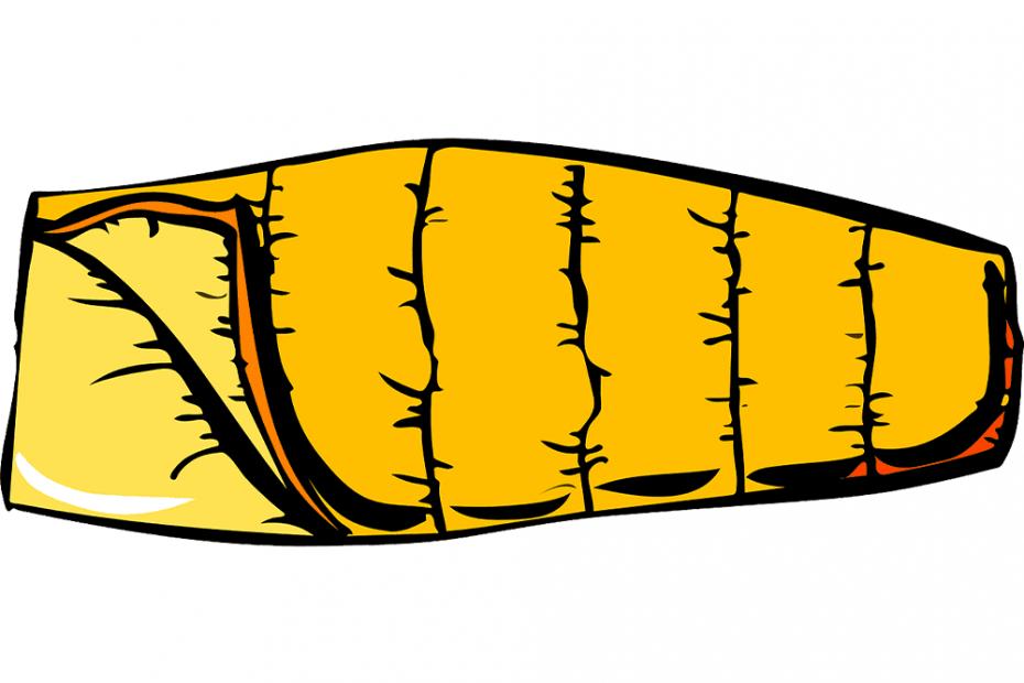 orange spoon shaped sleeping bag
