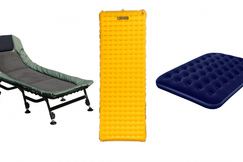 a camping cot, a sleeping pad and an air mattress